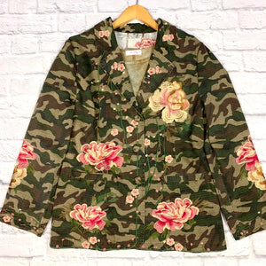 camo embroidered blazer
