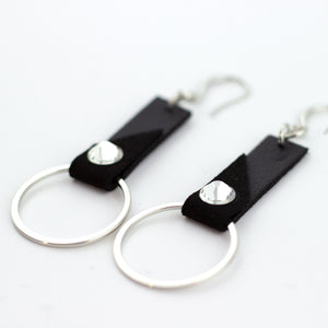 leather tab earrings
