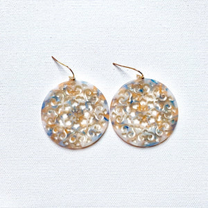 filigree marbled celluloid earrings