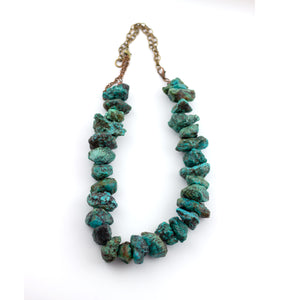 chunky natural turquoise collar necklace