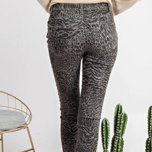 animal print stretch jeans