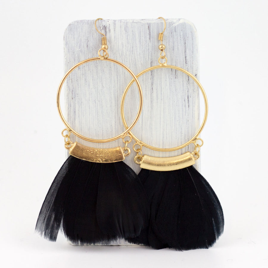 circle feather earrings