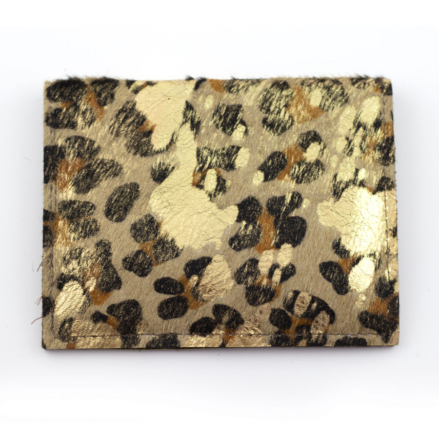 cowhide foldover compact wallet