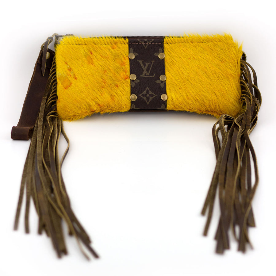 fringed skinny yellow wristlet (LV repurposed)