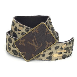gold leopard acid cowhide belt (LV repurposed buckle)