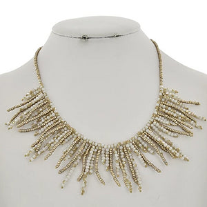 gold spike beaded necklace
