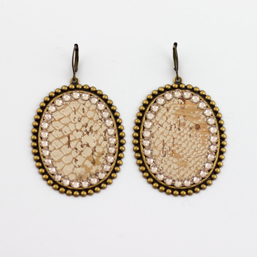 gold python disk earrings