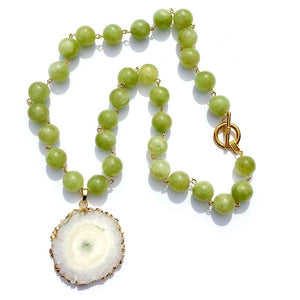 green jade beads with druzy slice