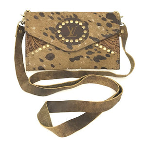 jordan chocolate acid speck cowhide crossbody