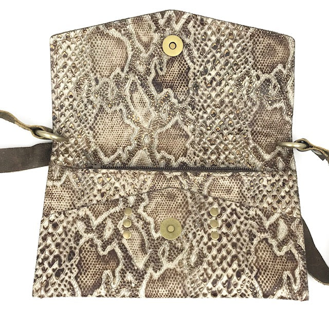 jordan brown snake leather crossbody