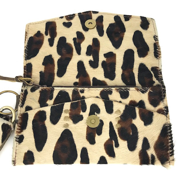 jordan wristlet in big leopard cowhide (LV repurposed)