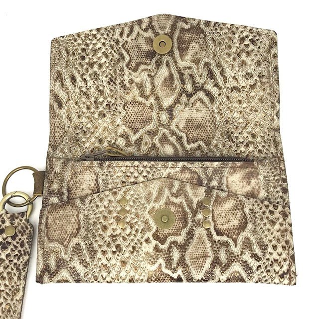 jordan wristlet in bronze snake (LV repurposed)