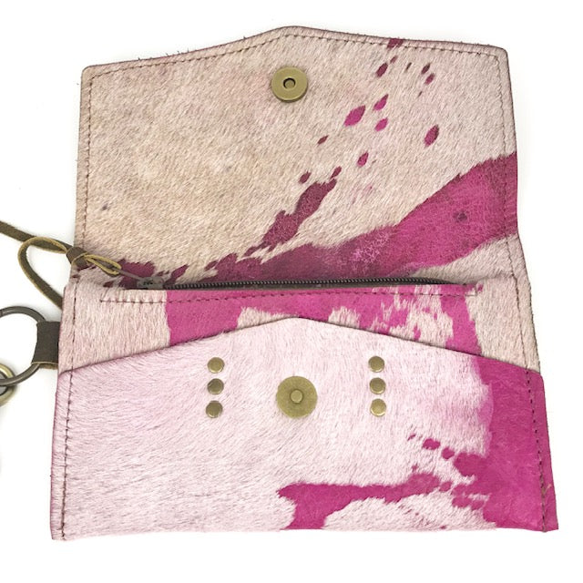 jordan wristlet in pink acid cowhide (LV repurposed)