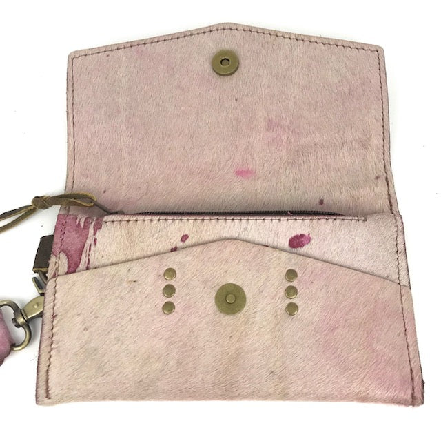 jordan wristlet in pink speck cowhide (LV repurposed)