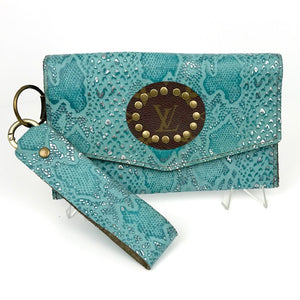 jordan wristlet in turquoise snake (LV repurposed)