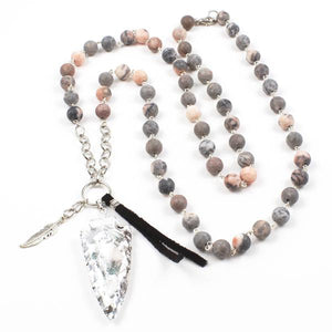 silver arrow + pink jasper necklace