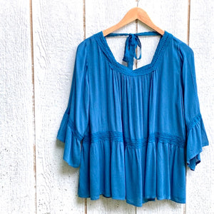 prussian blue boho top