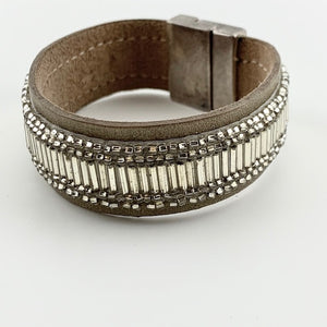 gray leather beaded wrap
