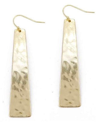 hammered gold strip earrings