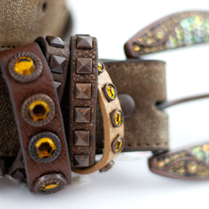 turin brown leather belt detail
