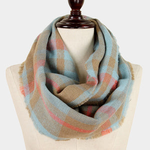 blue & khaki plaid scarf