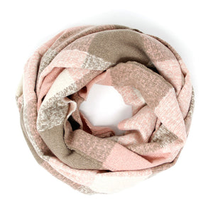 chunky blush plaid infinity scarf