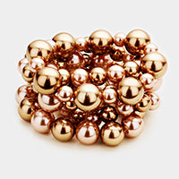 stacked pearl bracelets - chocolate