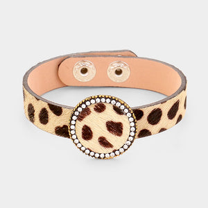 leather leopard wrap bracelet