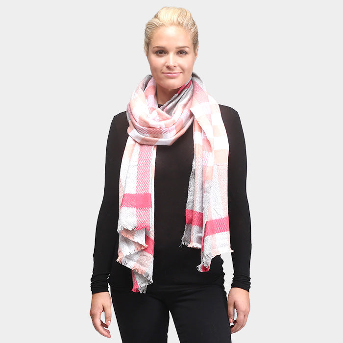 oversized pink check scarf