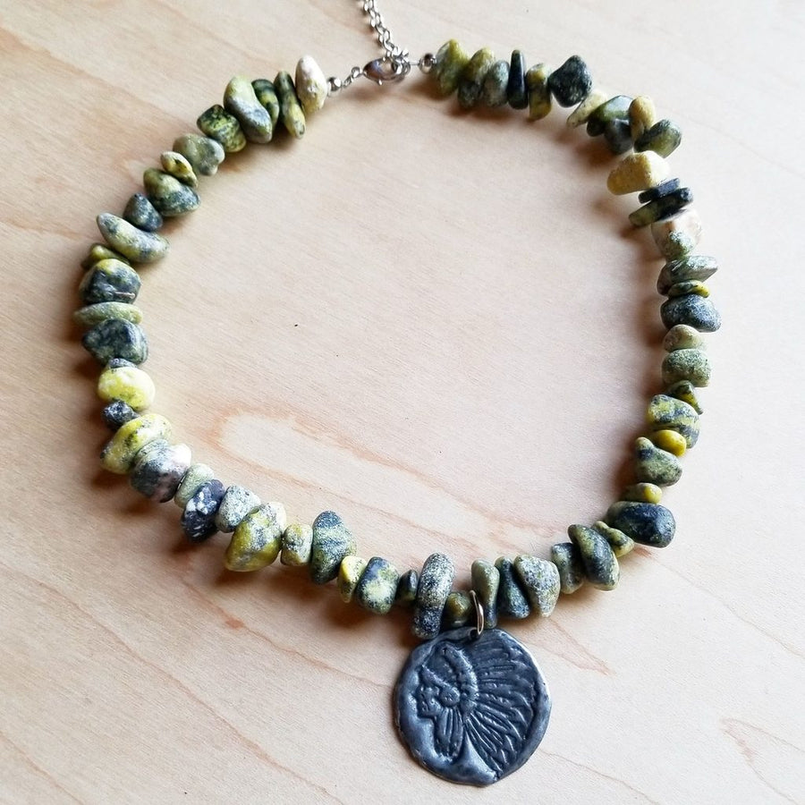yellow turquoise & stamped coin necklace