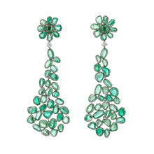 Load image into Gallery viewer, Muzo Emerald Muisca White Gold Dangle Earrings