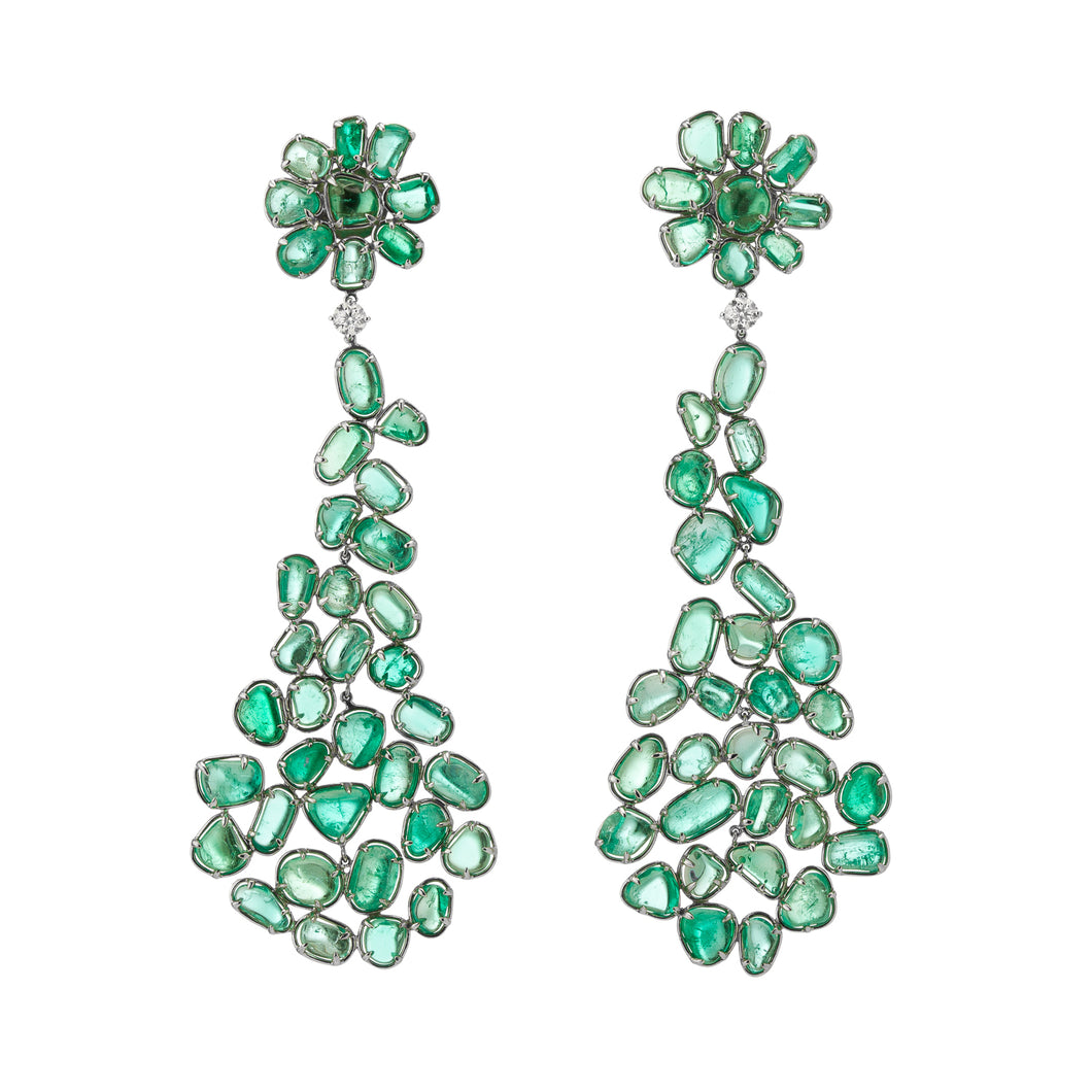 Muzo Emerald Muisca White Gold Dangle Earrings