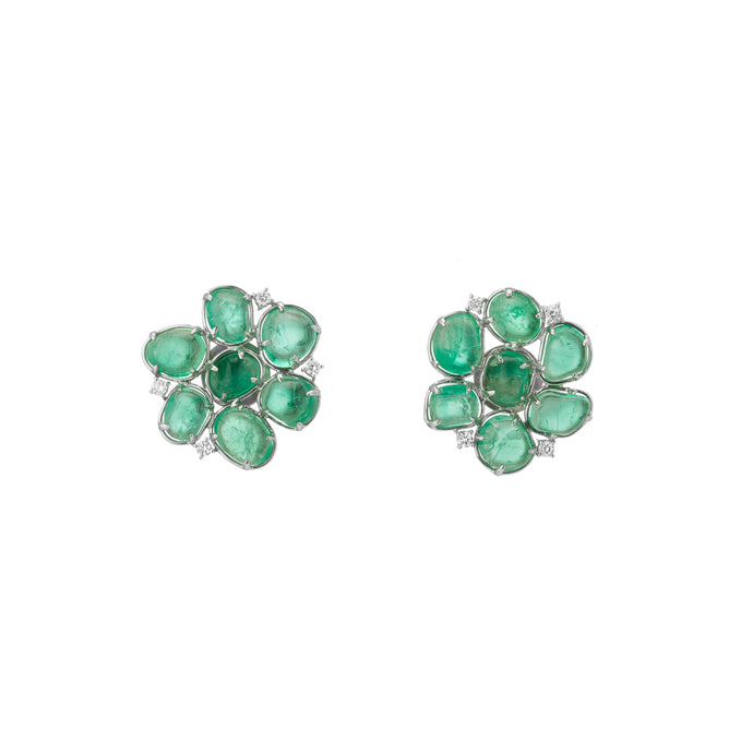 Flower Motif Stud Earrings Emerald Diamonds White Gold