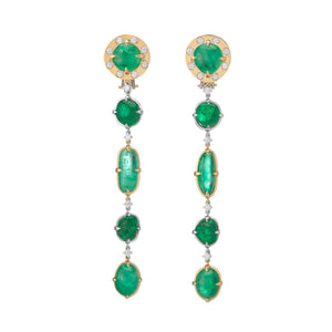 Muzo Emerald Muisca White And Yellow Gold Dangle Earrings