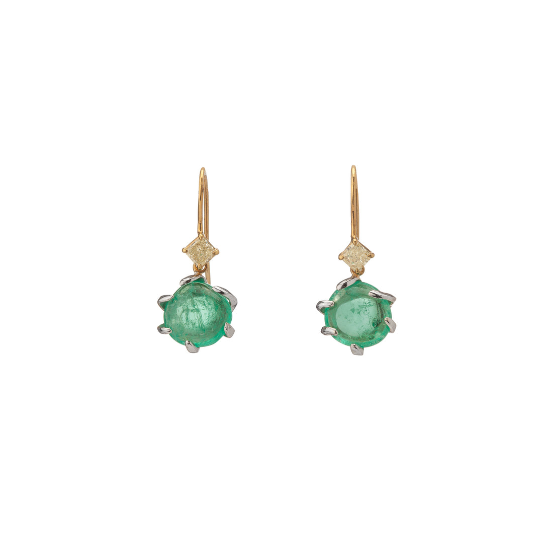 Muzo Emerald Muisca White And Yellow Gold Drop Earrings