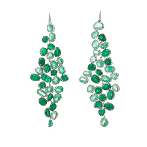 Muzo Emerald Muisca White Gold Baroque Dangle Earrings