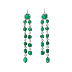 Muzo Emerald Muisca Long Drop White Gold Earrings