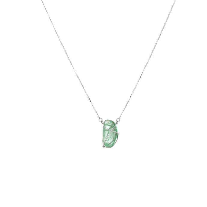 Pendant Necklace Emerald White Gold