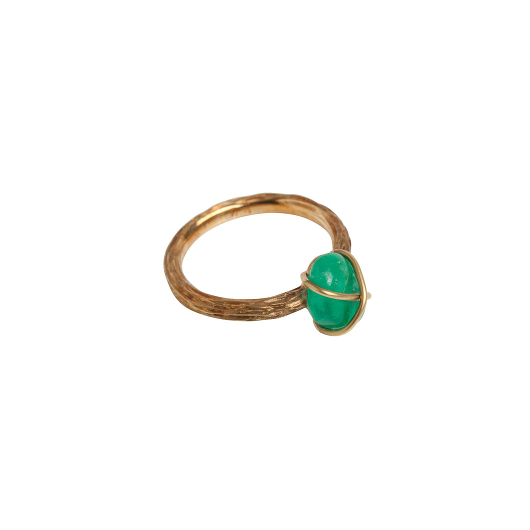 Muzo Emerald Chakana Yellow Gold Cocktail Ring
