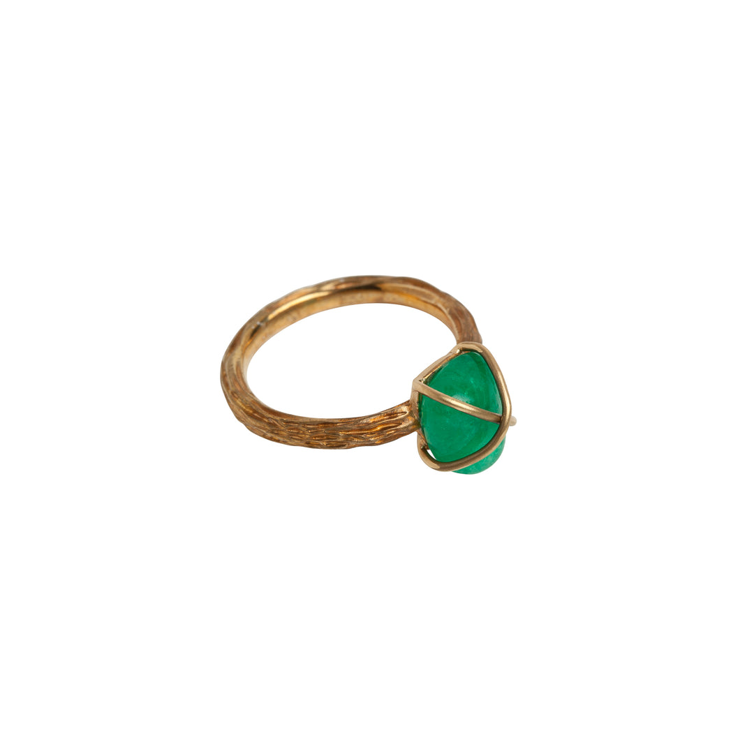Cocktail Ring Emerald Yellow Gold