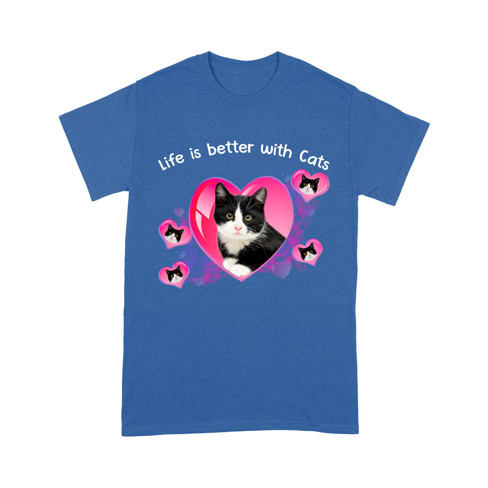 Life Is Better With Tuxedo Cat T Shirt Funny