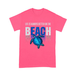 Turtle And Beach Glitter T Shirt