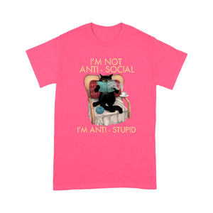 I'm Not Anti-Social Black Cat And Books T Shirt Funny