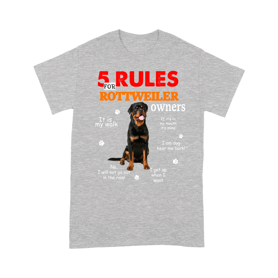 Rottweiler 5 Rules For Dog Owners T shirt