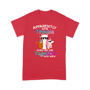 Trouble Llama Unicorn Sloth Funny Design Tshirt
