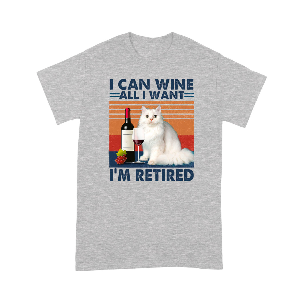 I Can Wine All I Want I'm Retired Ragdoll Cat T Shirt Funny
