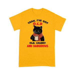 Old Cranky Dangerous Black Cat T Shirt Funny