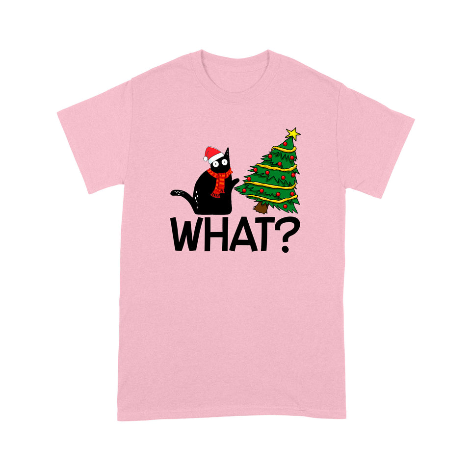 Black Cat Christmas Red T Shirt Funny