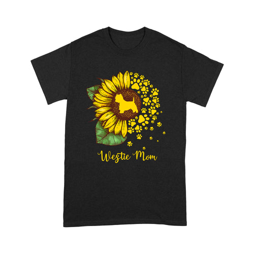 Westie Mom Dog Sunflower T shirt