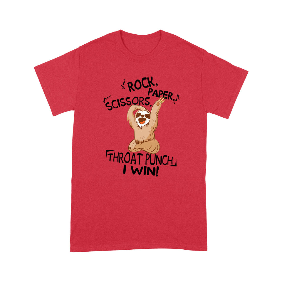 Sloth Rock Paper Scissors Funny Design Tshirt